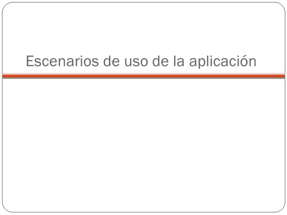 Escenarios de uso de la aplicación