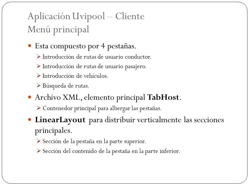 Aplicación Uvipool – Cliente Menú principal Esta compuesto por 4 pestañas. Introducción de rutas de usuario conductor. Introducción de rutas de usuari