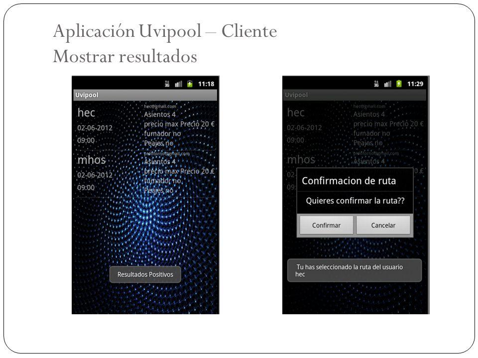 Aplicación Uvipool – Cliente Mostrar resultados