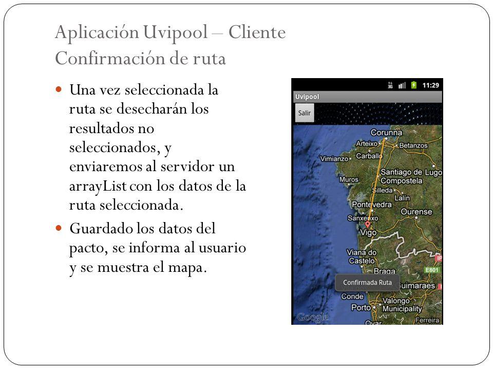 Aplicación Uvipool – Cliente Confirmación de ruta Una vez seleccionada la ruta se desecharán los resultados no seleccionados, y enviaremos al servidor