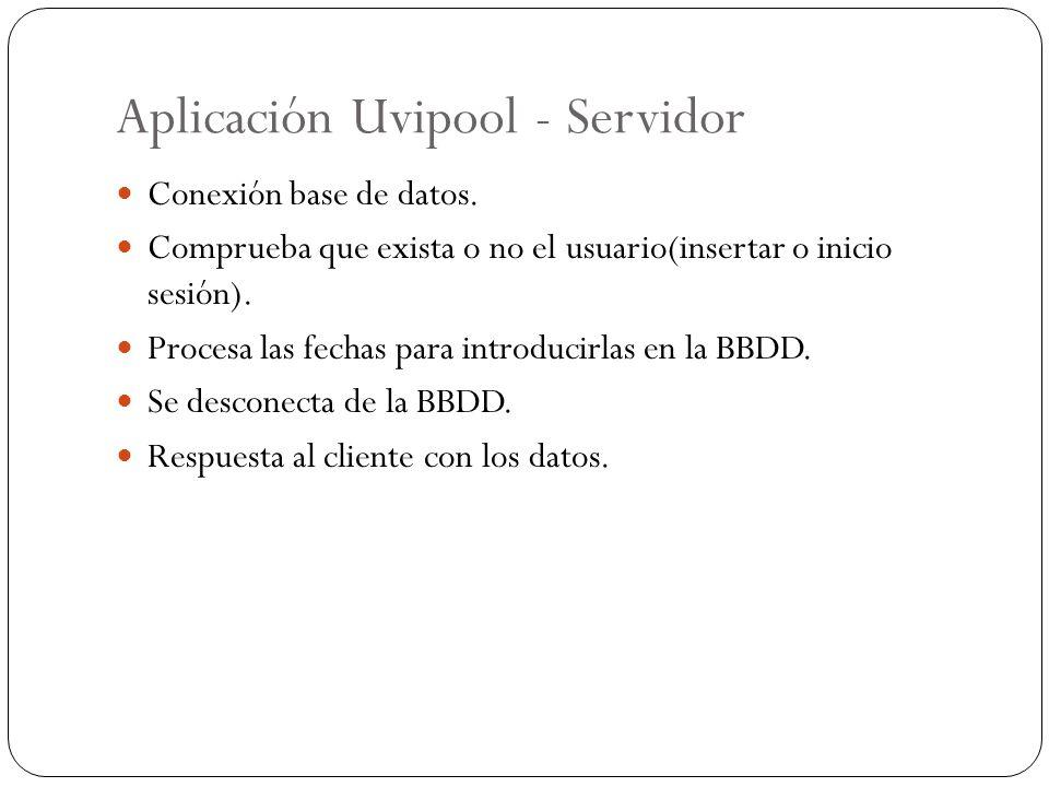 Aplicación Uvipool - Servidor Conexión base de datos. Comprueba que exista o no el usuario(insertar o inicio sesión). Procesa las fechas para introduc
