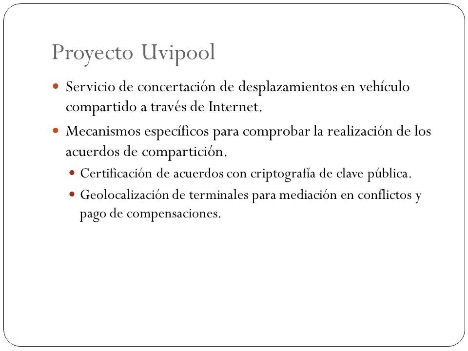 Proyecto Uvipool Servicio de concertación de desplazamientos en vehículo compartido a través de Internet. Mecanismos específicos para comprobar la rea
