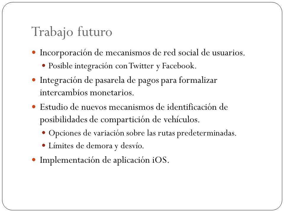 Trabajo futuro Incorporación de mecanismos de red social de usuarios. Posible integración con Twitter y Facebook. Integración de pasarela de pagos par