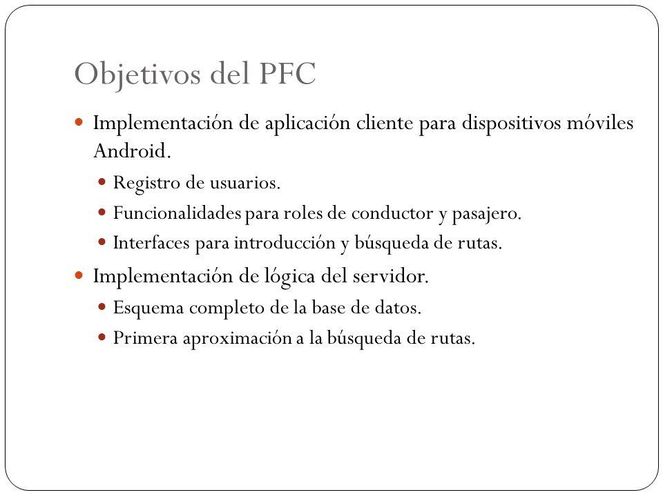 Objetivos del PFC Implementación de aplicación cliente para dispositivos móviles Android. Registro de usuarios. Funcionalidades para roles de conducto