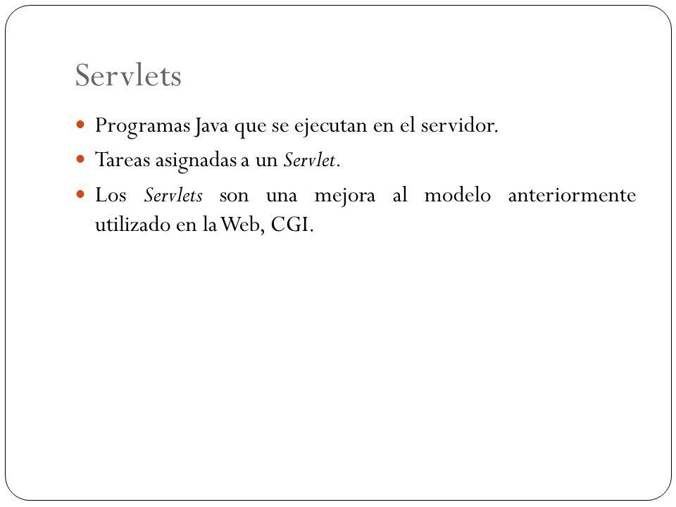 Servlets Programas Java que se ejecutan en el servidor. Tareas asignadas a un Servlet. Los Servlets son una mejora al modelo anteriormente utilizado e
