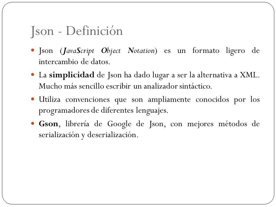 Json - Definición Json (JavaScript Object Notation) es un formato ligero de intercambio de datos. La simplicidad de Json ha dado lugar a ser la altern
