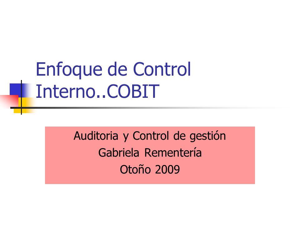 Enfoque de Control Interno..COBIT Auditoria y Control de gestión Gabriela Rementería Otoño 2009
