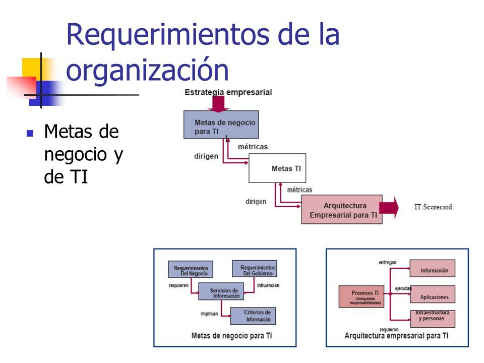 Requerimientos de la organización Metas de negocio y de TI