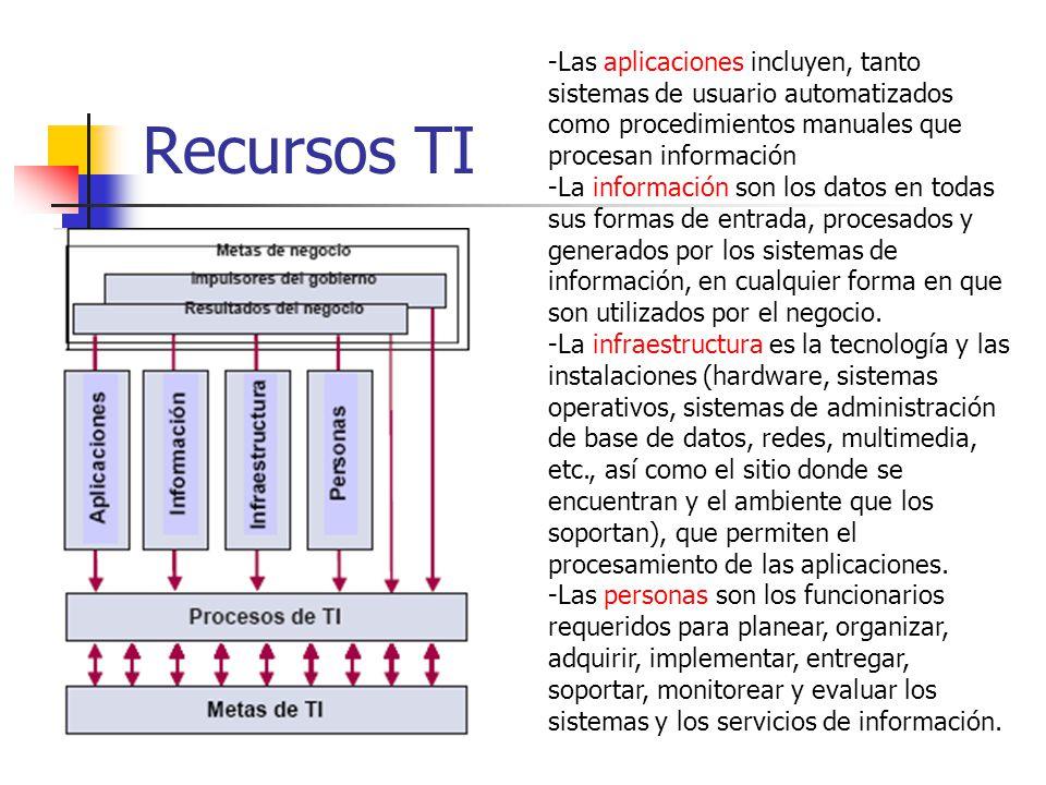 Recursos TI -Las aplicaciones incluyen, tanto sistemas de usuario automatizados como procedimientos manuales que procesan información -La información