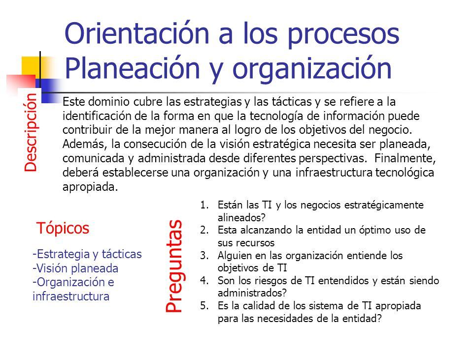 Orientación a los procesos Planeación y organización Descripción Este dominio cubre las estrategias y las tácticas y se refiere a la identificación de