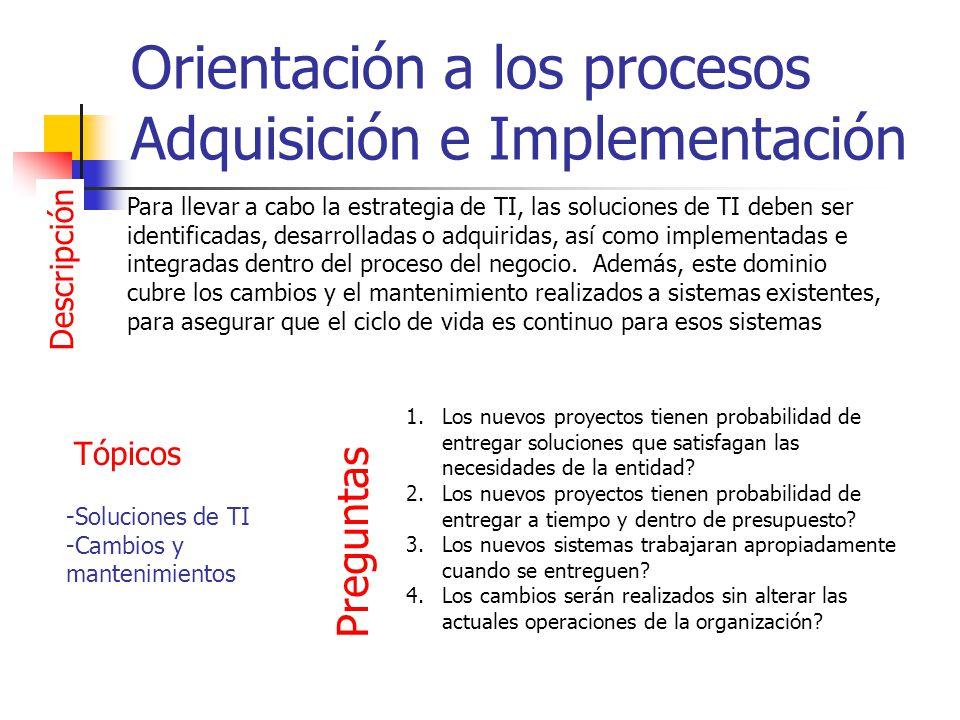 Orientación a los procesos Adquisición e Implementación Descripción Para llevar a cabo la estrategia de TI, las soluciones de TI deben ser identificad