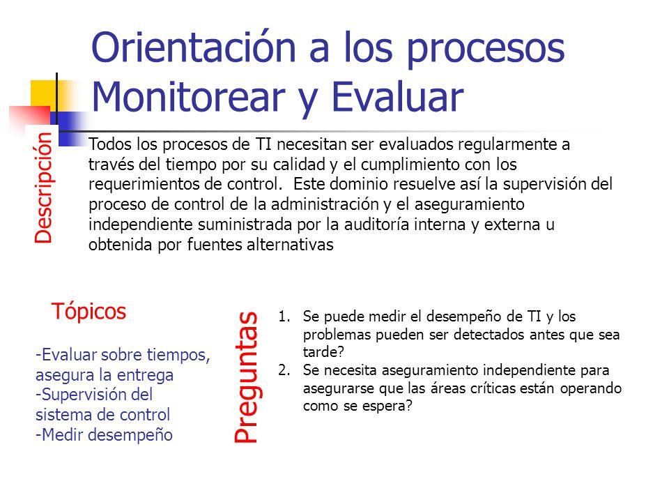 Orientación a los procesos Monitorear y Evaluar Descripción Todos los procesos de TI necesitan ser evaluados regularmente a través del tiempo por su c