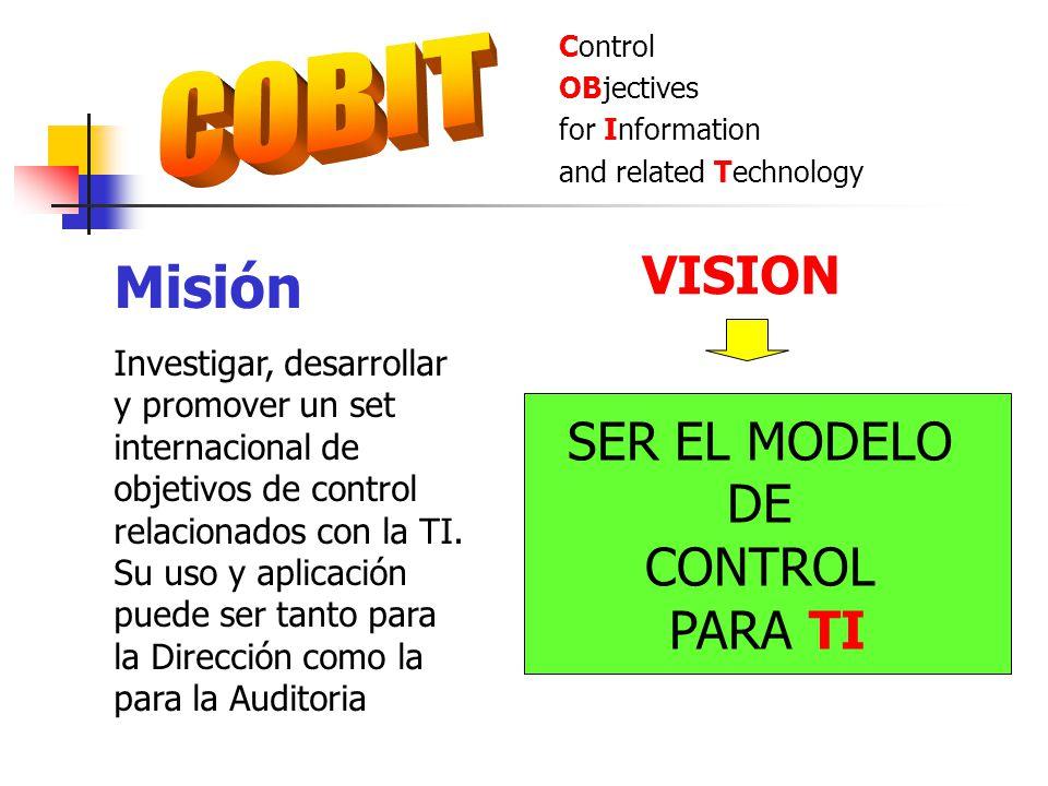 Control OBjectives for Information and related Technology Misión Investigar, desarrollar y promover un set internacional de objetivos de control relac