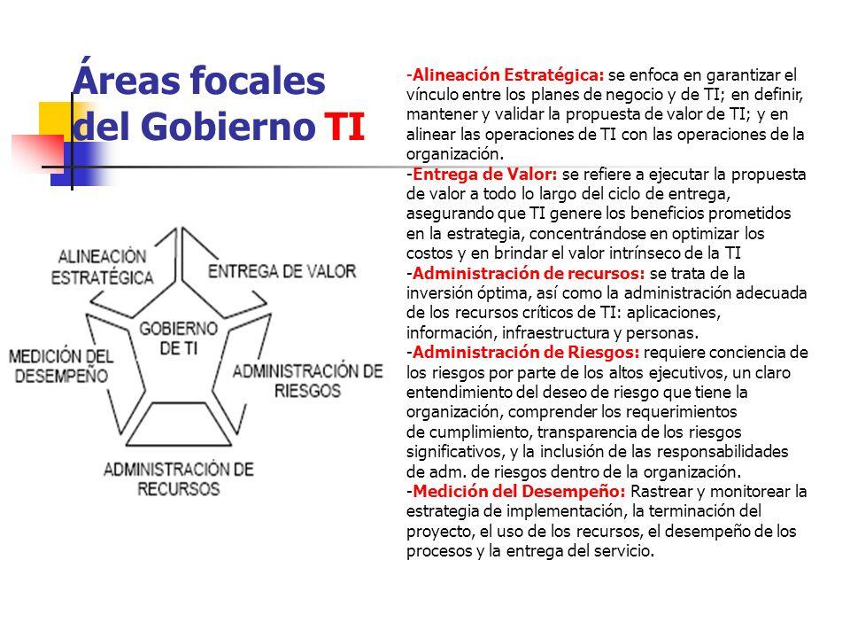 Áreas focales del Gobierno TI -Alineación Estratégica: se enfoca en garantizar el vínculo entre los planes de negocio y de TI; en definir, mantener y