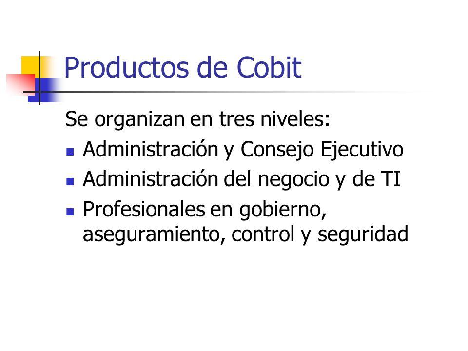 Productos de Cobit Se organizan en tres niveles: Administración y Consejo Ejecutivo Administración del negocio y de TI Profesionales en gobierno, aseg