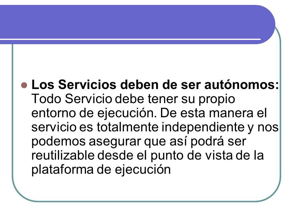 Los Servicios deben de ser autónomos: Todo Servicio debe tener su propio entorno de ejecución. De esta manera el servicio es totalmente independiente