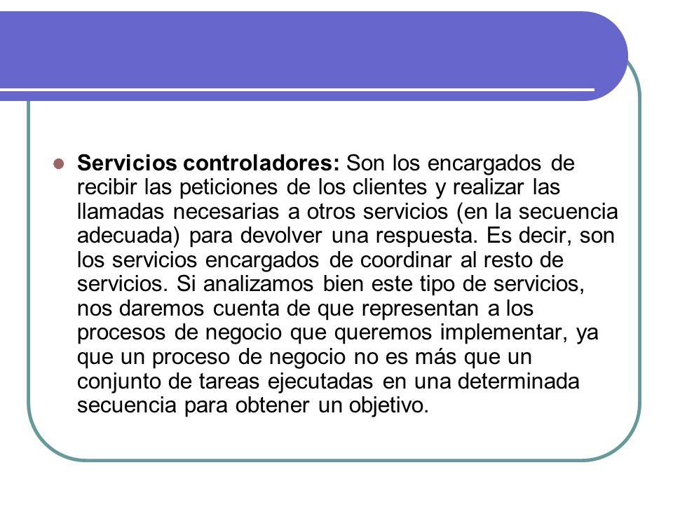 Servicios controladores: Son los encargados de recibir las peticiones de los clientes y realizar las llamadas necesarias a otros servicios (en la secu