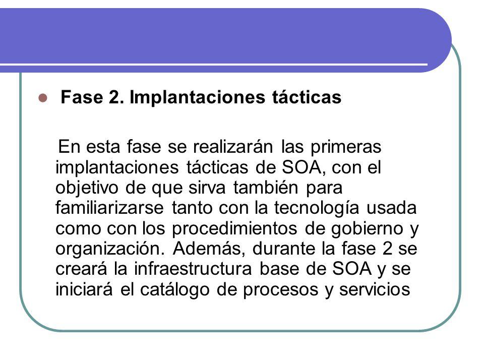Fase 2. Implantaciones tácticas En esta fase se realizarán las primeras implantaciones tácticas de SOA, con el objetivo de que sirva también para fami
