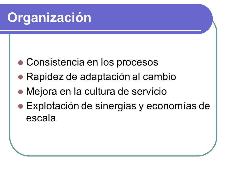 Organización Consistencia en los procesos Rapidez de adaptación al cambio Mejora en la cultura de servicio Explotación de sinergias y economías de esc