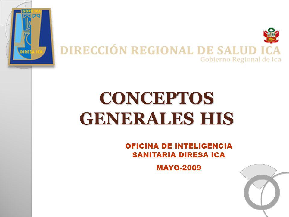 CONCEPTOS GENERALES HIS OFICINA DE INTELIGENCIA SANITARIA DIRESA ICA MAYO-2009
