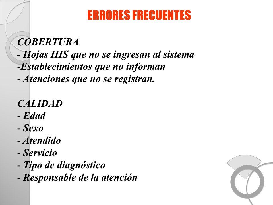ERRORES FRECUENTES COBERTURA - Hojas HIS que no se ingresan al sistema -Establecimientos que no informan - Atenciones que no se registran. CALIDAD - E