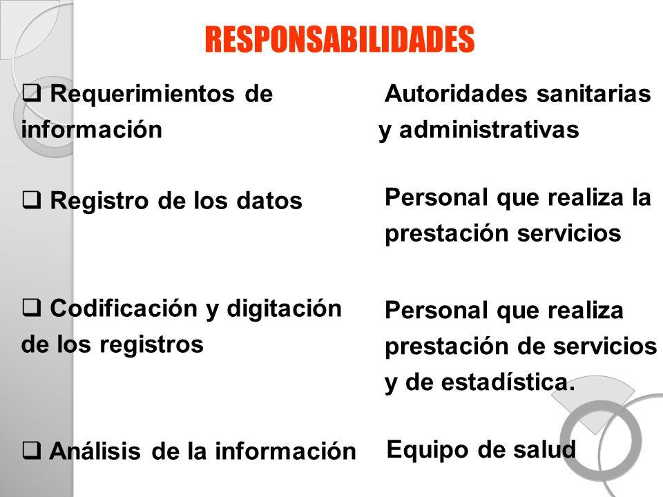Requerimientos de información Registro de los datos Codificación y digitación de los registros Análisis de la información Autoridades sanitarias y adm
