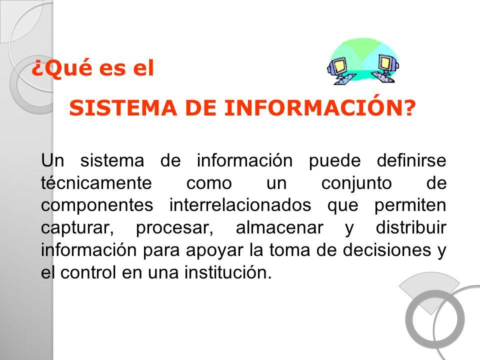 ¿Qué es el SISTEMA DE INFORMACIÓN? Un sistema de información puede definirse técnicamente como un conjunto de componentes interrelacionados que permit
