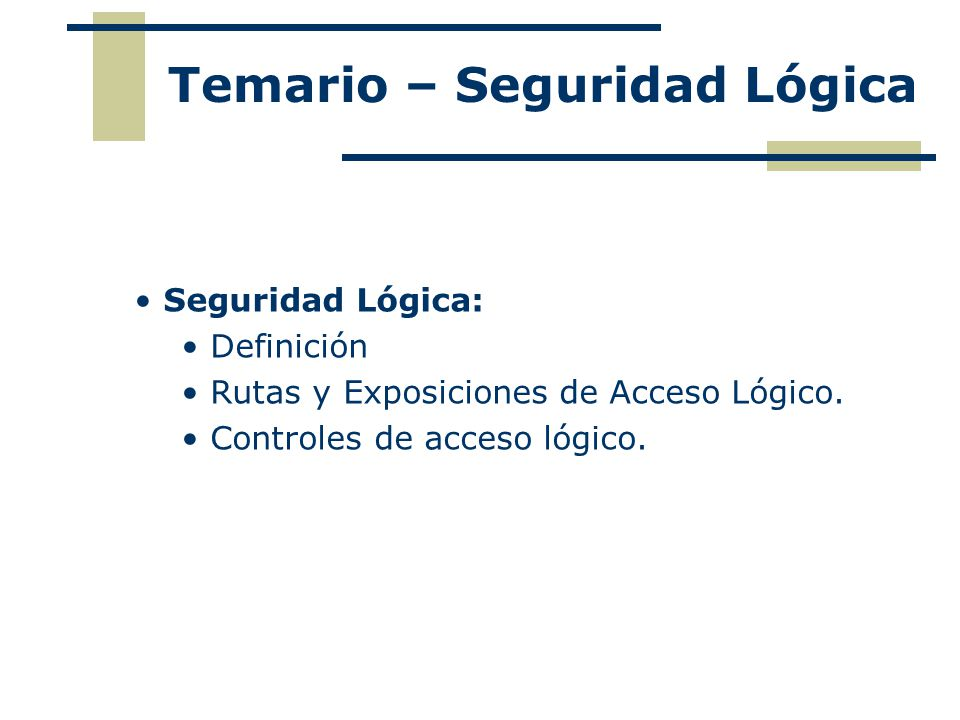 Seguridad Lógica: Definición Rutas y Exposiciones de Acceso Lógico. Controles de acceso lógico. Temario – Seguridad Lógica