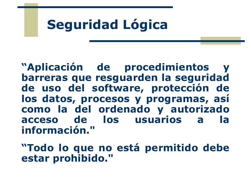 Aplicación de procedimientos y barreras que resguarden la seguridad de uso del software, protección de los datos, procesos y programas, así como la del ordenado y autorizado acceso de los usuarios a la información. Todo lo que no está permitido debe estar prohibido. Seguridad Lógica