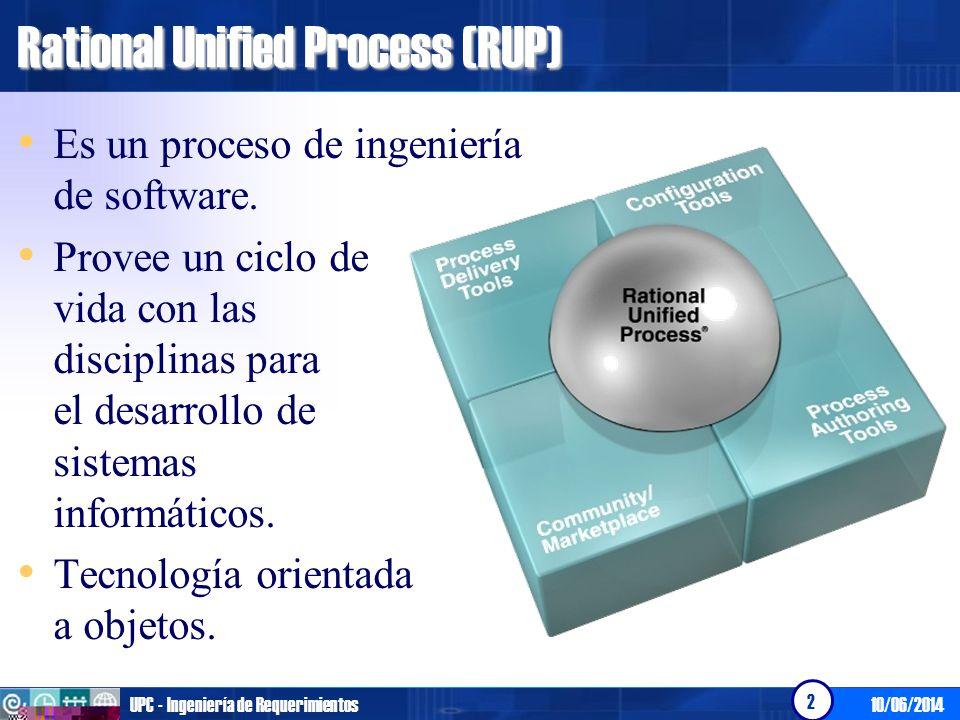 10/06/2014UPC - Ingeniería de Requerimientos 3 ¿Qué propone Rational Unified Process (RUP).