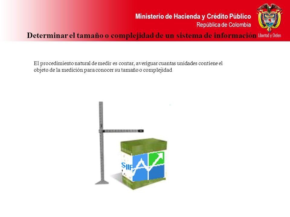 Ministerio de Hacienda y Crédito Público República de Colombia Determinar el tamaño o complejidad de un sistema de información El procedimiento natura