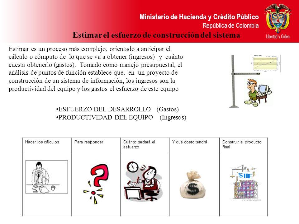 Ministerio de Hacienda y Crédito Público República de Colombia Estimar el esfuerzo de construcción del sistema Estimar es un proceso más complejo, ori
