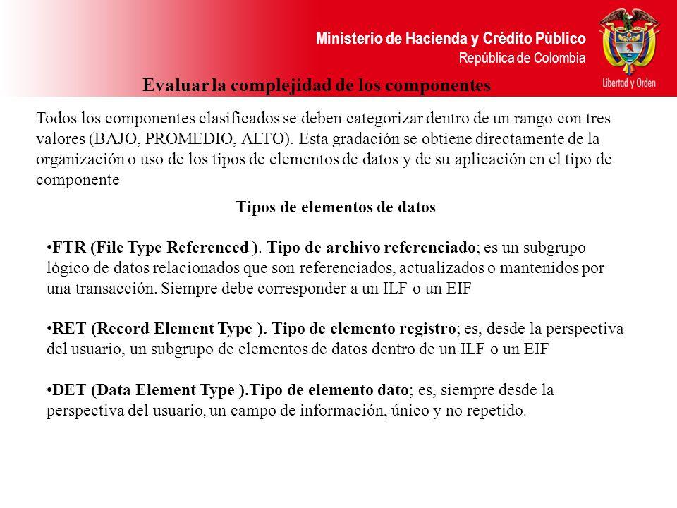 Ministerio de Hacienda y Crédito Público República de Colombia Evaluar la complejidad de los componentes Todos los componentes clasificados se deben categorizar dentro de un rango con tres valores (BAJO, PROMEDIO, ALTO).