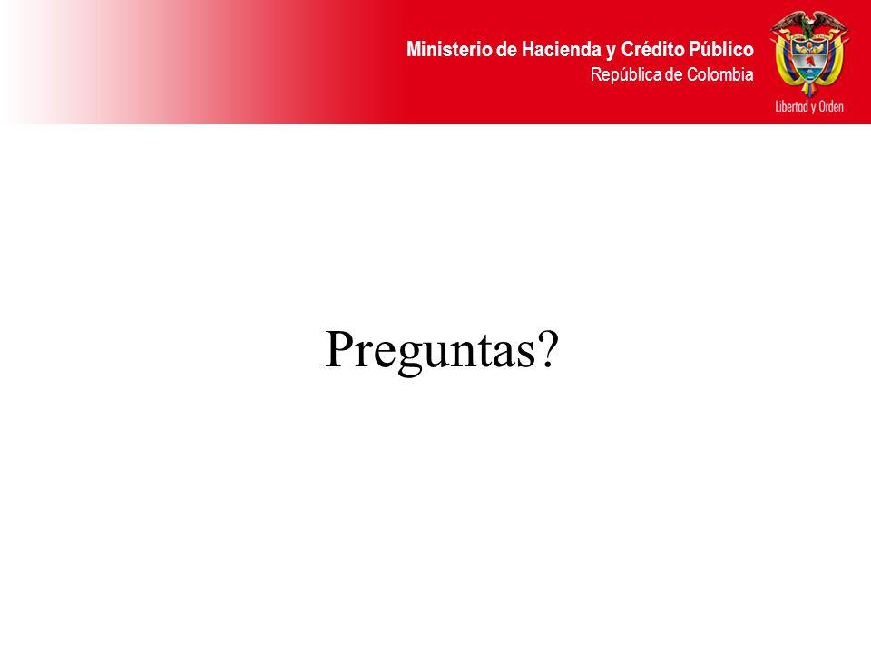 Ministerio de Hacienda y Crédito Público República de Colombia Preguntas?