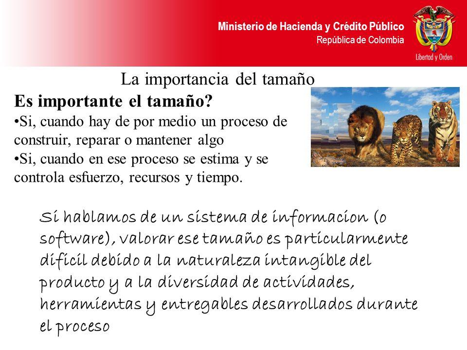 Ministerio de Hacienda y Crédito Público República de Colombia La importancia del tamaño Es importante el tamaño? Si, cuando hay de por medio un proce