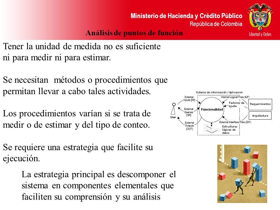 Ministerio de Hacienda y Crédito Público República de Colombia Sin embargo no debemos olvidar el ámbito de aplicación de los puntos de función, si se trata de un proyecto nuevo (desarrollo de software) que tiene necesidades de migrar o convertir información de sistemas existentes, entonces es imperativo agregar la propia cuenta de puntos de función de este sub proyecto (la conversión o migración), se llama a estos puntos CFP (Conversion Function Points) y al nuevo resultado se le denomina como puntos de función de desarrollo DFP y la nueva fórmula es: Puntos de función de conversión DFP = (UFP + CFP) * VAF