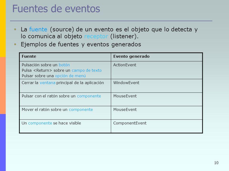 10 Fuentes de eventos La fuente (source) de un evento es el objeto que lo detecta y lo comunica al objeto receptor (listener). Ejemplos de fuentes y e