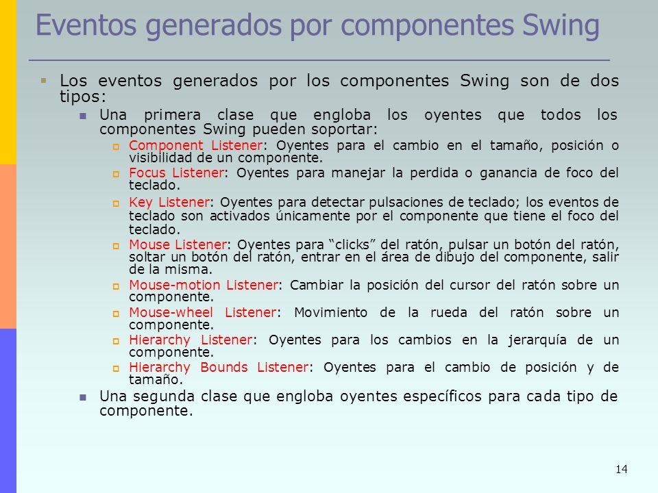 14 Eventos generados por componentes Swing Los eventos generados por los componentes Swing son de dos tipos: Una primera clase que engloba los oyentes