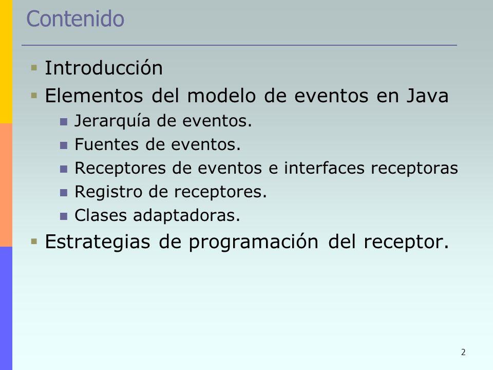 2 Contenido Introducción Elementos del modelo de eventos en Java Jerarquía de eventos. Fuentes de eventos. Receptores de eventos e interfaces receptor