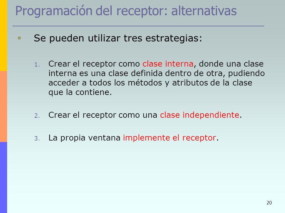 20 Programación del receptor: alternativas Se pueden utilizar tres estrategias: 1. Crear el receptor como clase interna, donde una clase interna es un