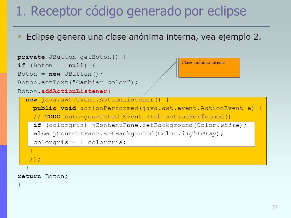 23 1. Receptor código generado por eclipse Eclipse genera una clase anónima interna, vea ejemplo 2. private JButton getBoton() { if (Boton == null) {