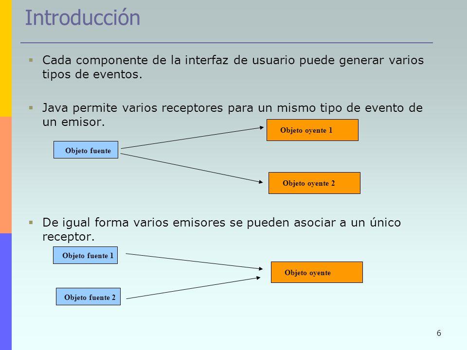 6 Introducción Cada componente de la interfaz de usuario puede generar varios tipos de eventos. Java permite varios receptores para un mismo tipo de e