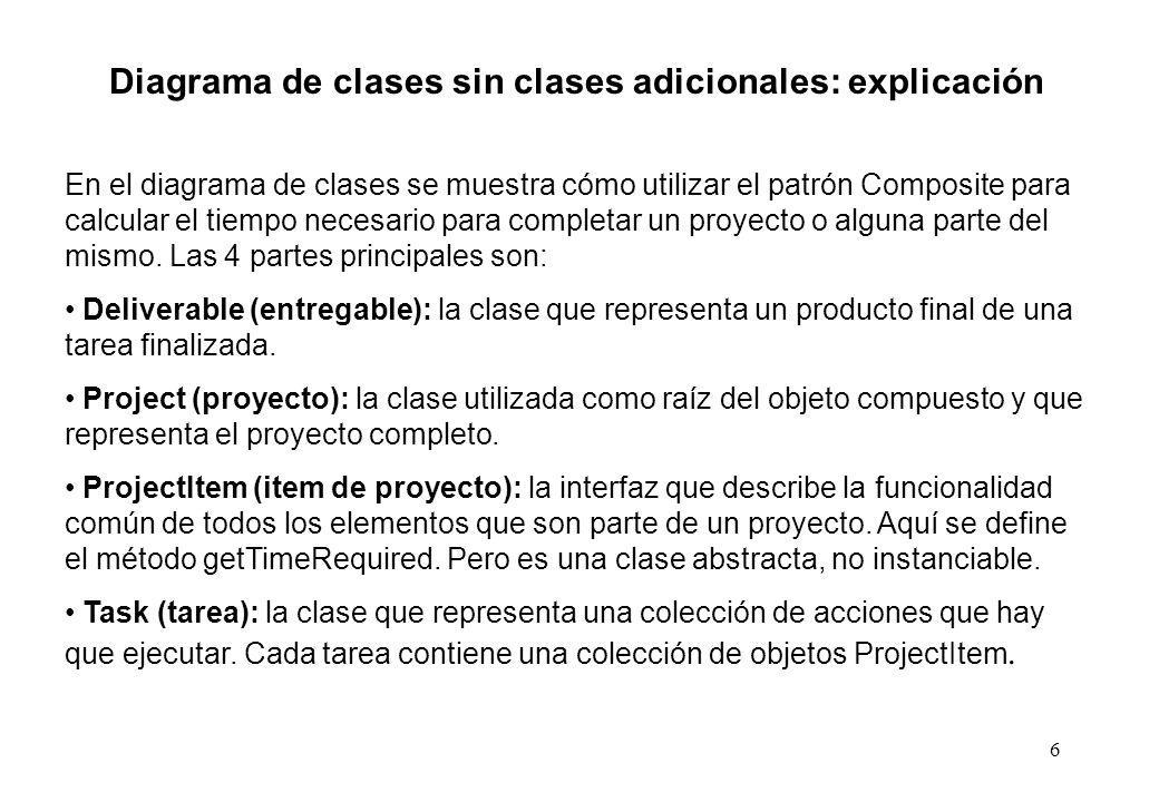 6 Diagrama de clases sin clases adicionales: explicación En el diagrama de clases se muestra cómo utilizar el patrón Composite para calcular el tiempo necesario para completar un proyecto o alguna parte del mismo.