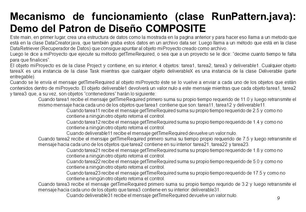 9 Mecanismo de funcionamiento (clase RunPattern.java): Demo del Patron de Diseño COMPOSITE Este main, en primer lugar, crea una estructura de datos como la mostrada en la pagina anterior y para hacer eso llama a un metodo que está en la clase DataCreator.java, que también graba estos datos en un archivo data.ser.