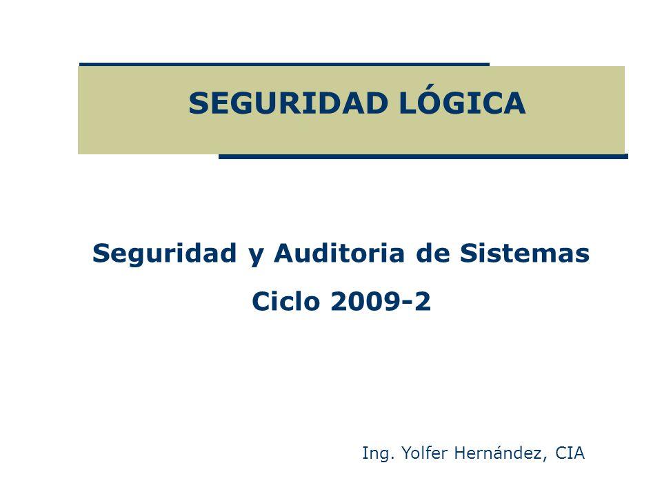 SEGURIDAD LÓGICA Ing. Yolfer Hernández, CIA Seguridad y Auditoria de Sistemas Ciclo 2009-2