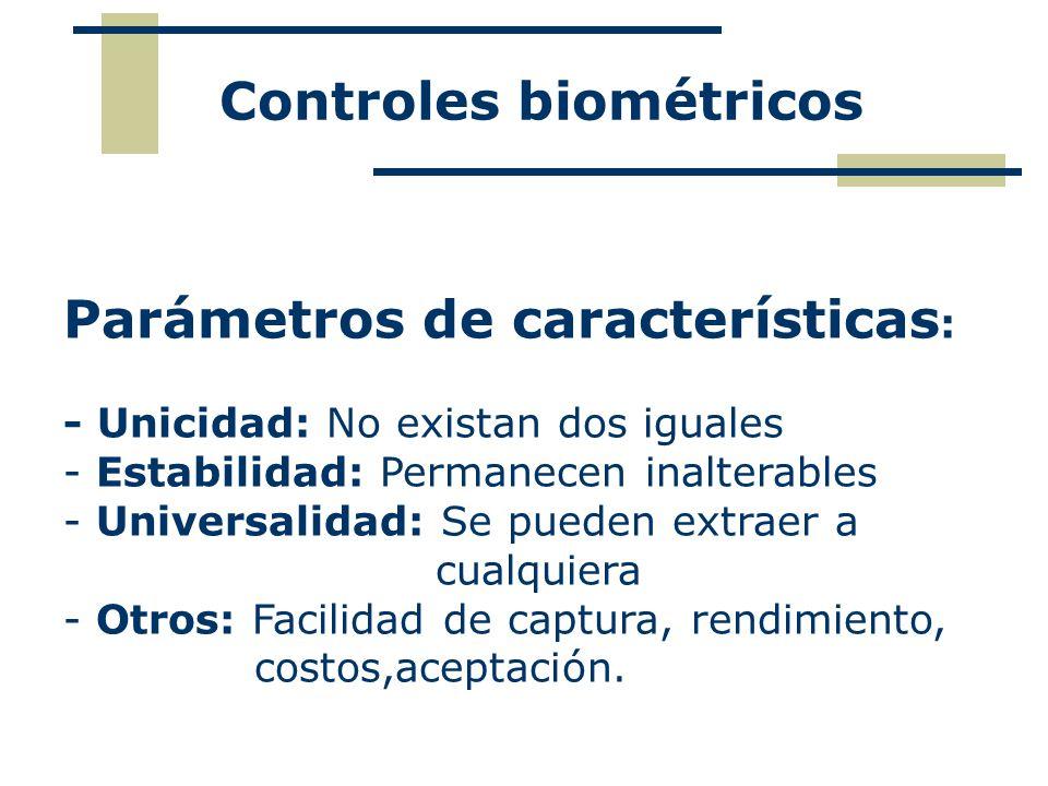 Controles biométricos Parámetros de características : - Unicidad: No existan dos iguales - Estabilidad: Permanecen inalterables - Universalidad: Se pu