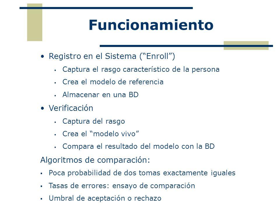 Funcionamiento Registro en el Sistema (Enroll) Captura el rasgo característico de la persona Crea el modelo de referencia Almacenar en una BD Verifica