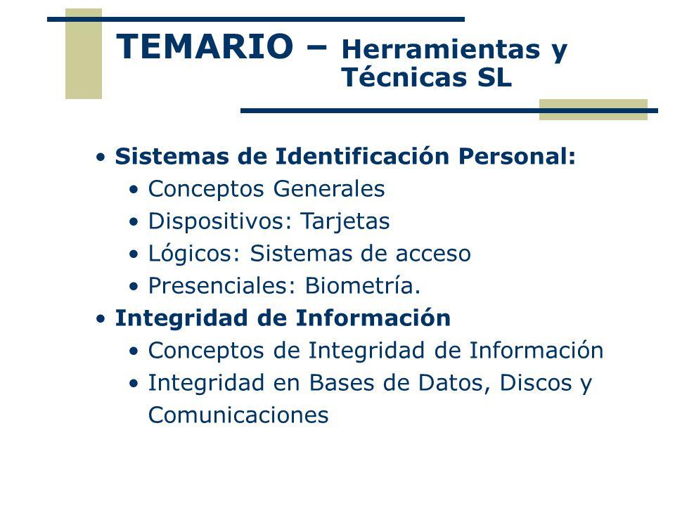 Sistemas de Identificación Personal Identificadores: Físicos Vigilancia con identificación legal Por Dispositivos Smart Card, Rusco Presenciales Biométricas Lógicos Sistemas de Acceso PIN, Segunda clave, clave token, etc.