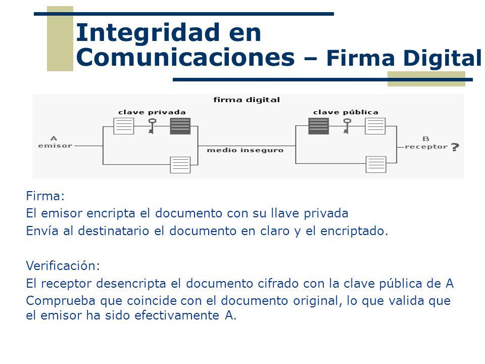 Integridad en Comunicaciones – Firma Digital Firma: El emisor encripta el documento con su llave privada Envía al destinatario el documento en claro y