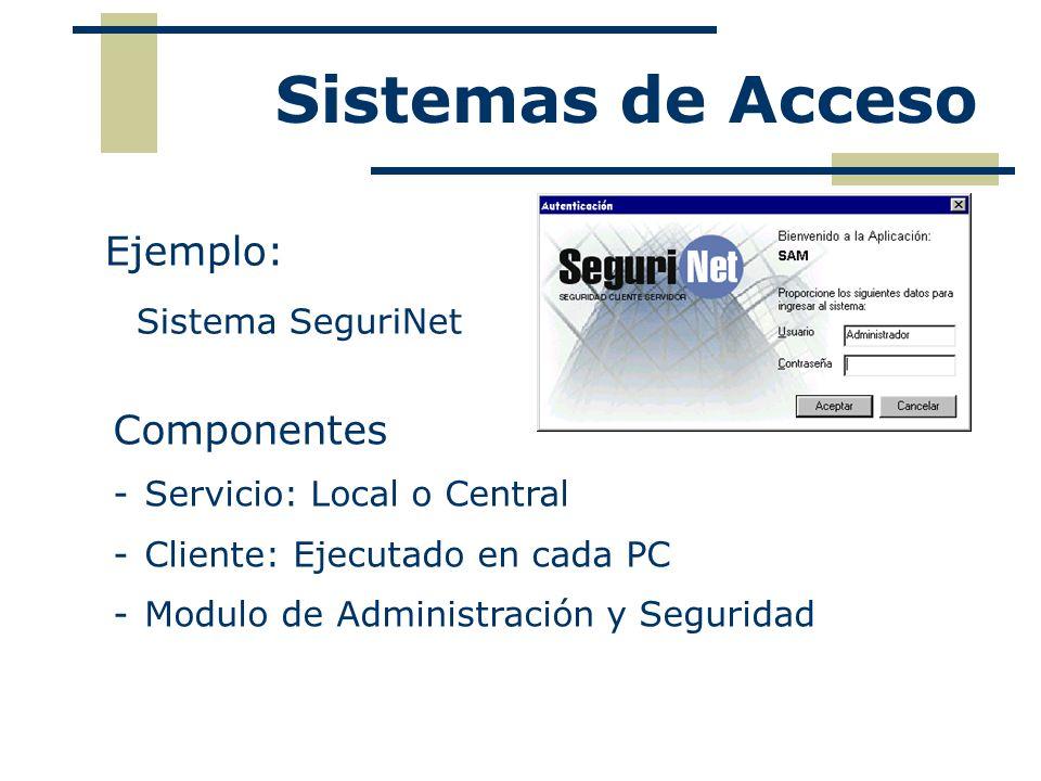 Ejemplo: Sistema SeguriNet Sistemas de Acceso Componentes -Servicio: Local o Central -Cliente: Ejecutado en cada PC -Modulo de Administración y Seguri